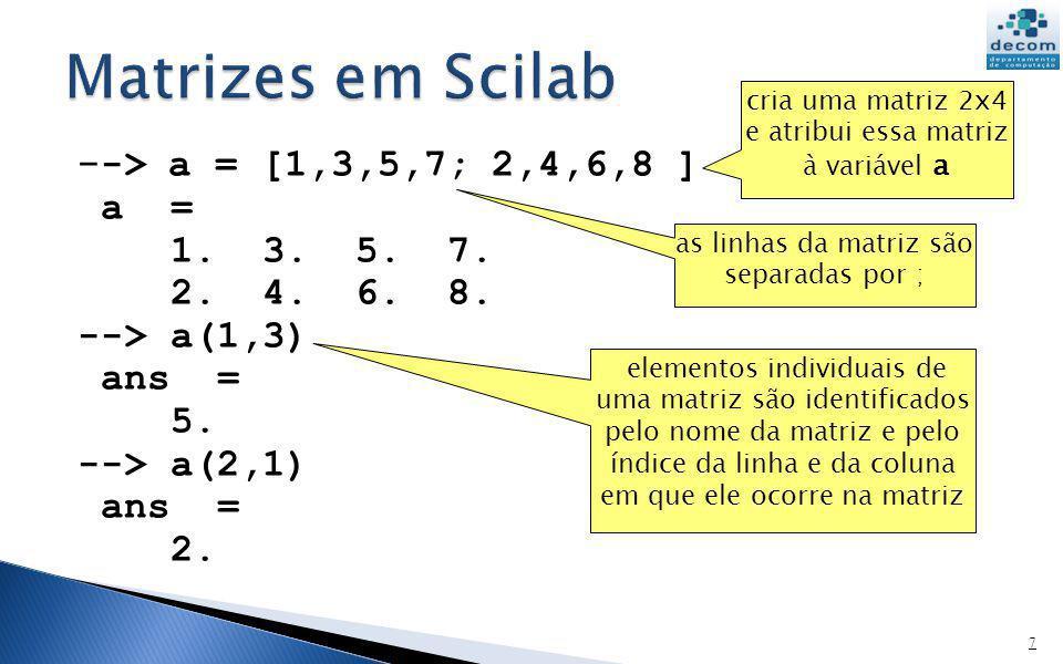Matrizes em Scilab --> a = [1,3,5,7; 2,4,6,8 ] a = 1. 3. 5. 7.